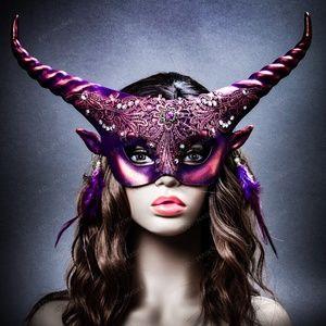 Krampus Horn Lace Animal Devil Women Mask - Purple
